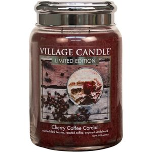 Village Candle Cherry Coffee Cordial 26oz Large Jar