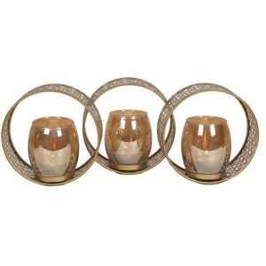 Metal Triple Circle Moroccan Style Tea Light Candle Holder 40cm
