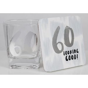 Luxe Birthday Whiskey Glass & Coaster Set - 60