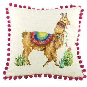 "Evans Lichfield Fantasy Collection Cushion Cover: Pom Pom Llama 17x17"""