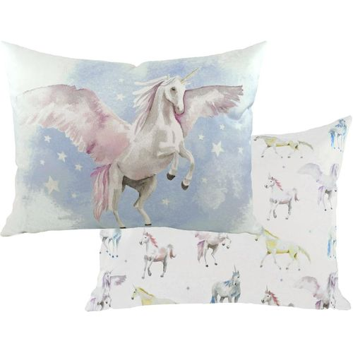 Evans Lichfield Fantasy Collection Filled Cushion: Unicorns Oblong 43cm x 33cm