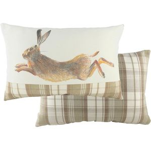 Natural Leaping Hare Cushion (60x40cm)
