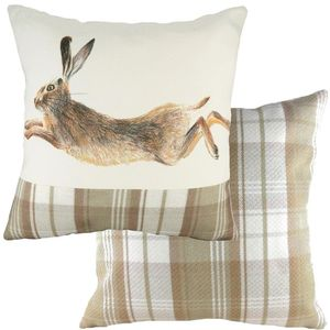 Natural Leaping Hare Cushion (43cm)