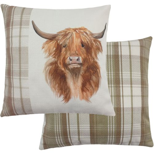 Evans Lichfield Natural Hand Painted Animals Filled Cushion: Highland Cow 43cm