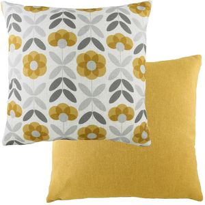 Retro Floral Ochre Cushion (43cm)
