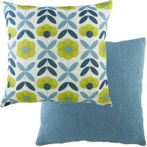 Evans Lichfield Retro Cushion: Floral Denim 43cm