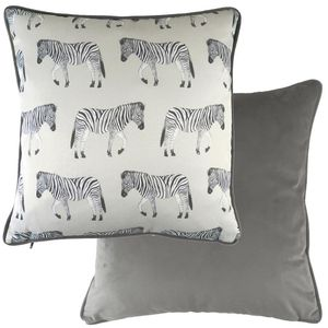 Evans Lichfield Safari Collection Piped Cushion Cover: Zebra 17x17""