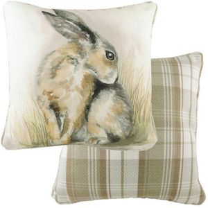 Evans Lichfield Watercolour Collection Piped Cushion: Hare 43cm x 43cm
