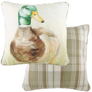 Evans Lichfield Watercolour Piped Cushion: Mallard 43cm