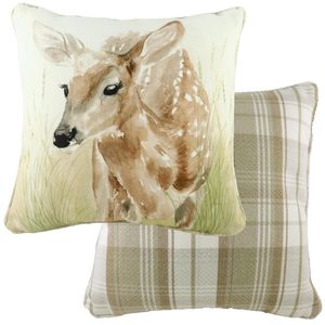 Piped Watercolour Fawn Cushion (43cm)