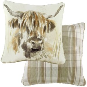 Evans Lichfield Watercolour Piped Cushion: Highland Cow