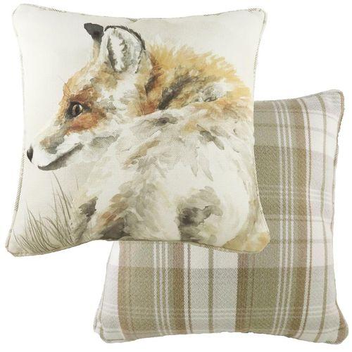 Evans Lichfield Watercolour Collection Piped Cushion: Fox 43cm x 43cm