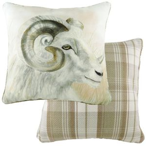 Piped Watercolour Ram Cushion (43cm)