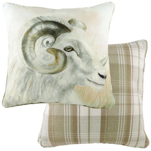 Evans Lichfield Watercolour Collection Piped Cushion: Ram 43cm x 43cm
