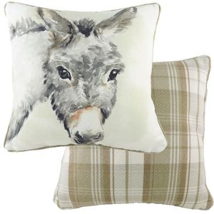 Evans Lichfield Watercolour Collection Piped Cushion Cover: Donkey