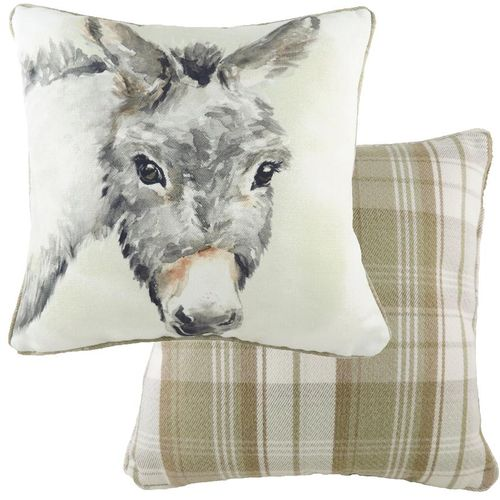 Evans Lichfield Watercolour Collection Piped Cushion: Donkey 43cm x 43cm