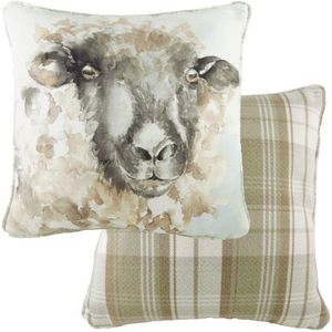 Evans Lichfield Watercolour Collection Piped Cushion: Sheep 43cm x 43cm