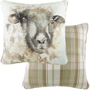 Evans Lichfield Watercolour Piped Cushion: Sheep 43cm