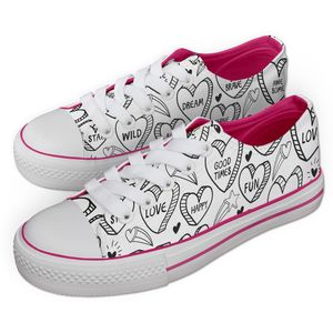 Jex Shoes - Positive Vibes Hearts Pattern - UK 5