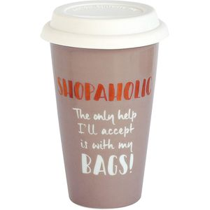 Ultimate Girl Gift Ceramic Travel Mug - Shopaholic