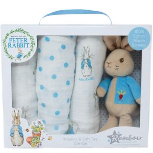 Beatrix Potter Peter Rabbit Soft Toy & 3 Muslin Squares Gift Set