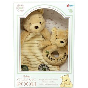 Disney Classic Pooh Hundred Acre Wood Comfort Blanket & Ring Rattle Gift Set