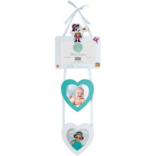 "Arora Kids Pirate Hanging Photo Frame 4"" x 6"" with 2 Heart Shaped Picture Holders"