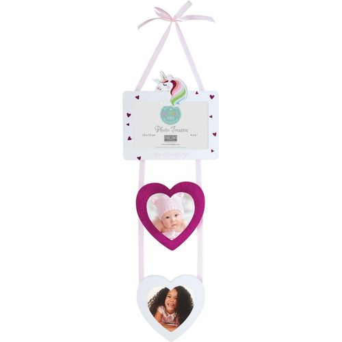"Arora Unicorn Hanging Photo Frame 4"" x 6"" with 2 Heart Shaped Picture Holders"