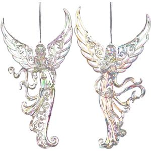 Christmas Tree Hanging Decorations - Iridescent Glitter Angel Pack of 2 Assorted