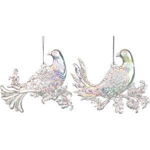 Set of 2 iridescent Doves Christmas Tree Decorations