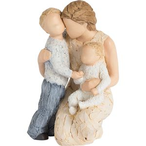 More Than Words Contentment Mother with Son & Baby Figurine