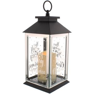 Christmas Lantern with Battery Operated Candle - Have Yourself a Merry Christmas