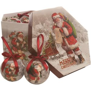 Christmas Tree Baubles - Decoupage Father Christmas Pack of 14 Assorted