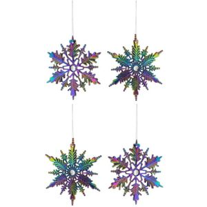 Christmas Tree Hanging Decorations - Iridescent Snowburst Pack of 4 Assorted