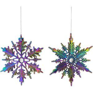 Dark Iridescent Snow Burst Tree Decoration Set of 4