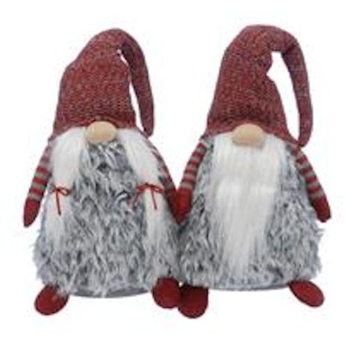 Short Standing Grey Gonk Set: Lady & Gent Christmas Room Decoration