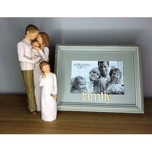 Willow Tree Figurines & Family Photo Frame Set - Mother Father Daughter & Baby
