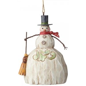 Folklore Snowman with Broom Hanging Ornament