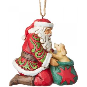 Heartwood Creek Santa with Dog Hanging Ornament