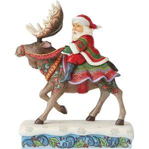 Heartwood Creek Santa Figurine - Merry Christmas-Moose (Santa Riding Moose)