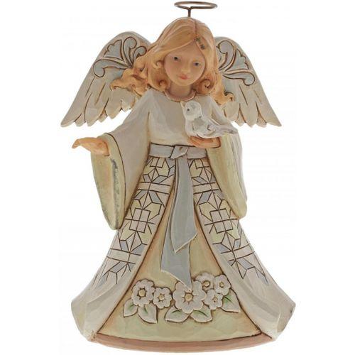Heartwood Creek White Woodland Angel with Bluebird Pint Sized Figurine 6004764