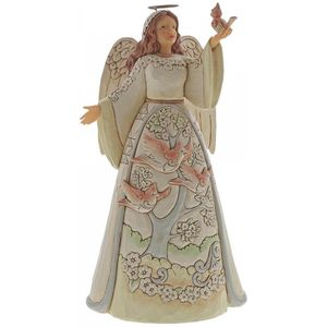 Heartwood Creek White Woodland Angel Figurine - Angel with Cardinal