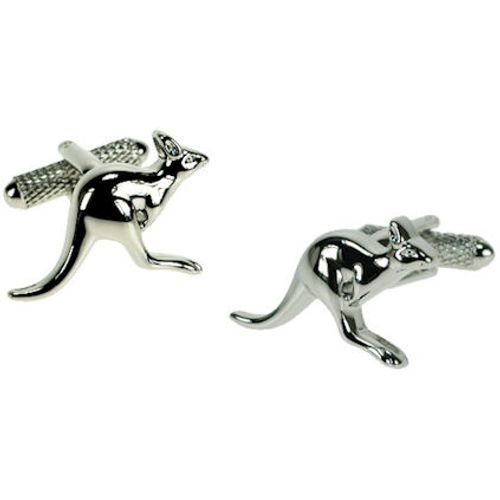 Kangaroo Cufflinks in a polished silver finish