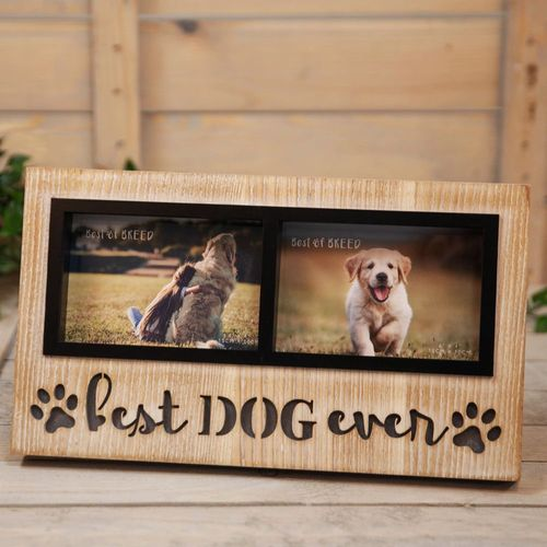 """Best Of Breed Light Up Double Photo Frame 6"""" x 4"""" - Dog"""