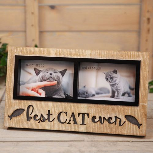 """Best of Breed Light Up Double Photo Frame 6"""" x 4"""" - Cat"""