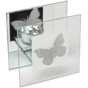 Hestia Glass Single Candle Holder (Butterfly Design)