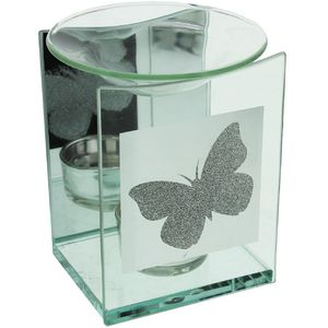 Hestia Silver Collection Glass Wax Melt/Oil Burner - Butterfly Design