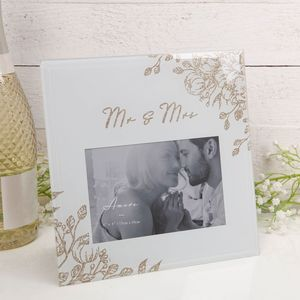 "Mr & Mrs Pale Grey Glass Gold Foral Frame 4"" x 6"""