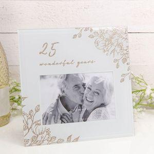 "25 Wonderful Years Grey Glass Gold Floral Frame 6"" x 4"