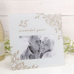 "Amore Grey Glass Gold Floral Photo Frame 6x4"" - 25 Wonderful Years"